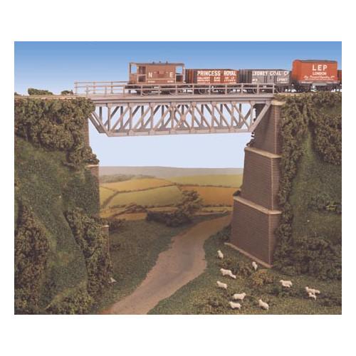 240 Ratio Kit Steel Truss Bridge, with Stone Piers - N Gauge