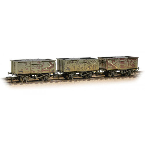 37-237 Triple Pack 16 Ton Steel Mineral Wagons in BR Grey Livery with Load & Weathered