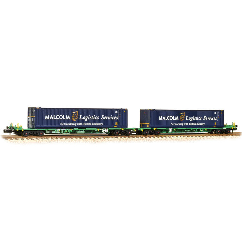 377-353A Intermodal Bogie Wagons 45ft Containers in Malcolm Logistics Livery