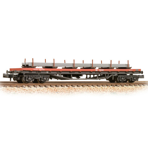 377-601C BR BDA Bogie Bolster in BR Railfreight Red Livery - Weathered - Includes Wagon Load