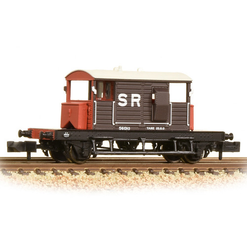 377-850A SR 25 Ton Pill Box Brake Van in SR Brown with White Roof
