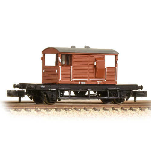 377-854A SR 25 Ton Pill Box Brake Van in BR Bauxite (Early)