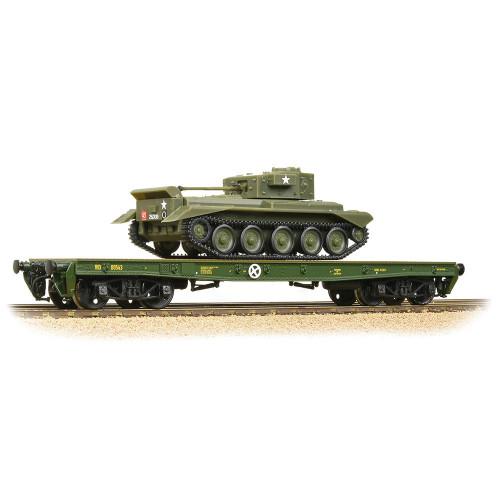 38-726 Warflat Bogie Flat Wagon WD Bronze Green with Tank