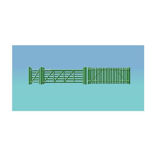430 Ratio Kit Green Picket Fencing (inc. Gates & Ramps) - 00 Gauge