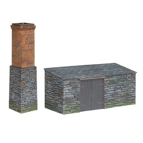 44-0106 Narrow Gauge Slate Built Boiler House and Chimney