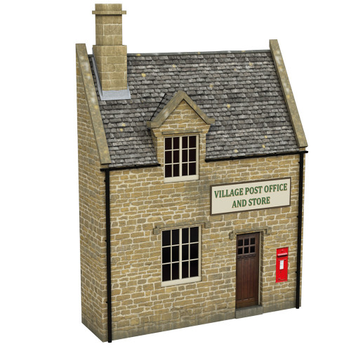 44-296 Scenecraft Low Relief Honey Stone Post Office and Shop