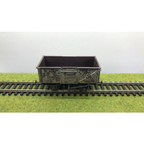 Bachmann 37-377F 16 Ton Steel Mineral Wagon No.B100925 with Pressed End Door in BR Grey - Weathered