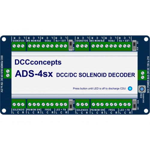 DCD-ADS-4sx Accessory Decoder CDU Solenoid Drive SX 4-Way with Power-Off Memory and Protective Case