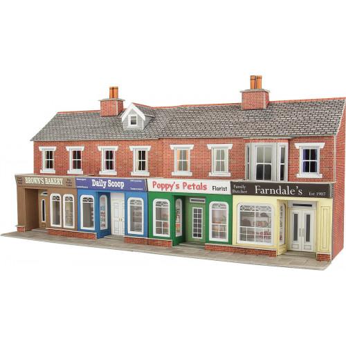 PO272 Metcalfe 00 Gauge Red Brick Shop Fronts - Low Relief