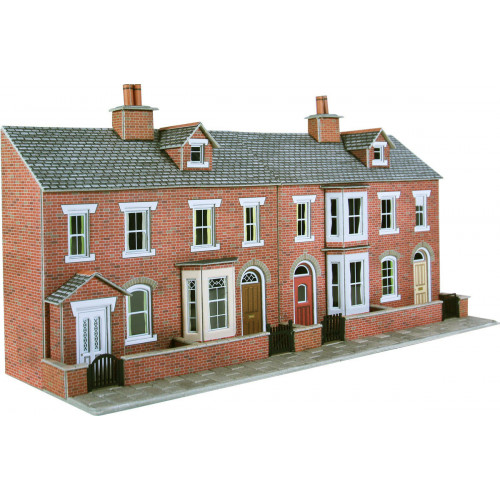 PO274 Metcalfe 00 Gauge Red Brick Terraced House Fronts - Low Relief