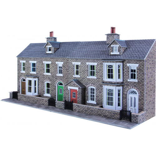 PO275 Metcalfe 00 Gauge Stone Terraced House Fronts - Low Relief