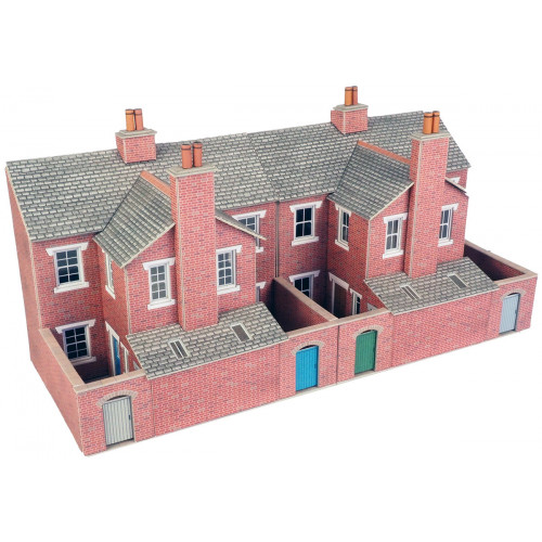 PO276 Metcalfe 00 Gauge Red Brick Terraced House Backs - Low Relief