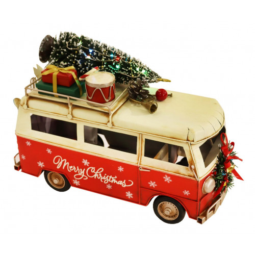 PXM3022 Vintage Christmas Camper Van with LED Lights (255 x 115 x 180mm)