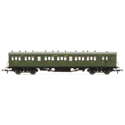 R4718A 58' Maunsell Rebuilt (Ex-LSWR 48'), Six Compartment Brake Third, 2625 in SR Olive Green