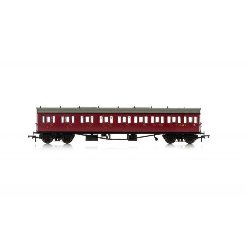 R4878A Collett 57' Bow Ended E131 Nine Compartment Composite (Left Hand) Coach No.W6237W in BR Crimson