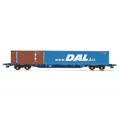 R6849 KFA Container Wagon, Tiphook with 1 x 40ft DAL Containers & 1 x 20ft Genstar Container